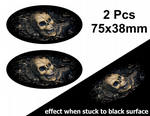 2pcs Fade To Black OVAL Design & Evil Gothic Skull Inside Vinyl Car sticker decal 75x38mm